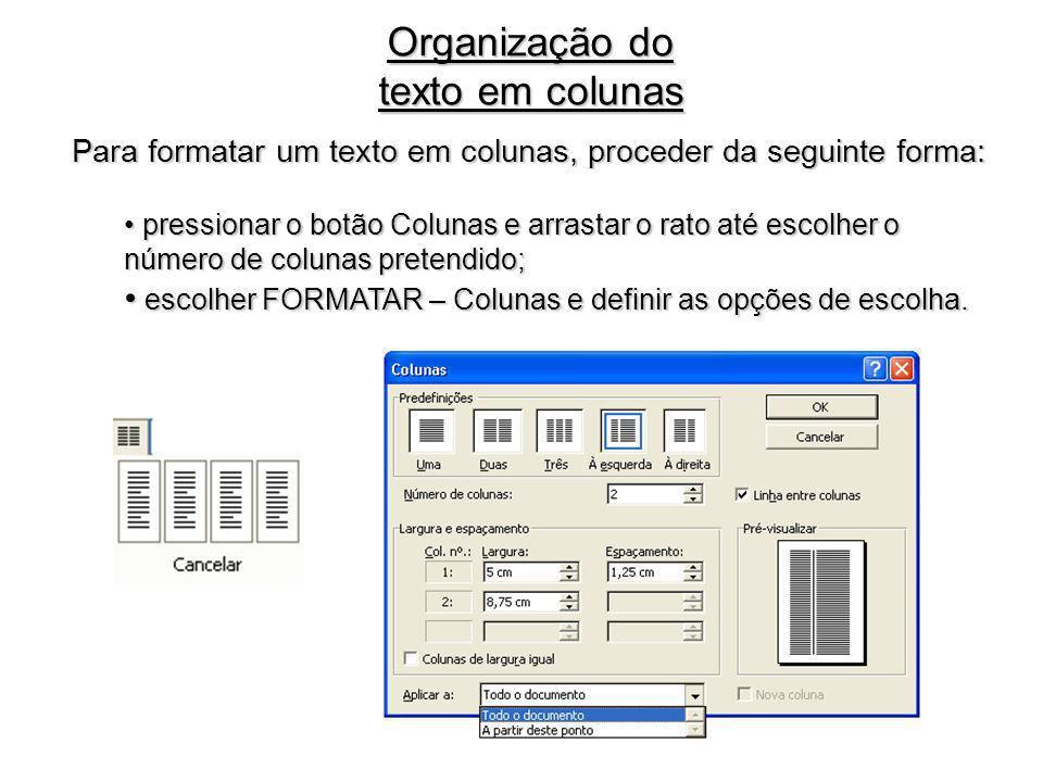 Organização do texto em colunas