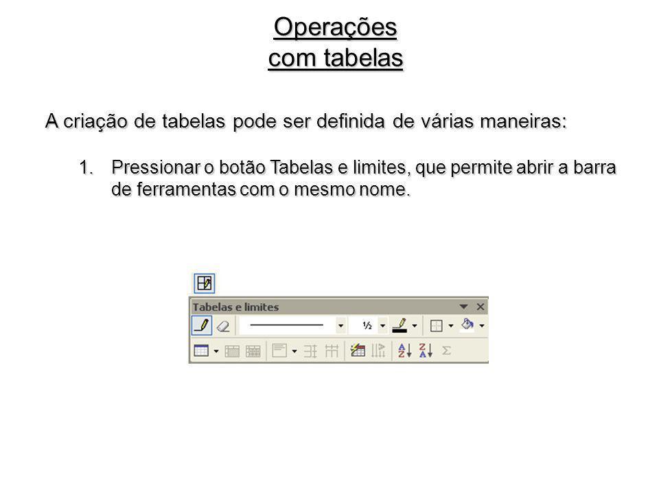 Operações com tabelas A criação de tabelas pode ser definida de várias maneiras: