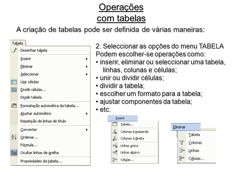 Operações com tabelas A criação de tabelas pode ser definida de várias maneiras: 2. Seleccionar as opções do menu TABELA.