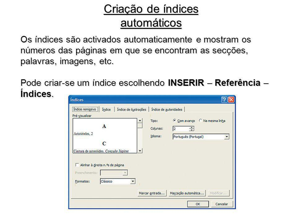 Criação de índices automáticos