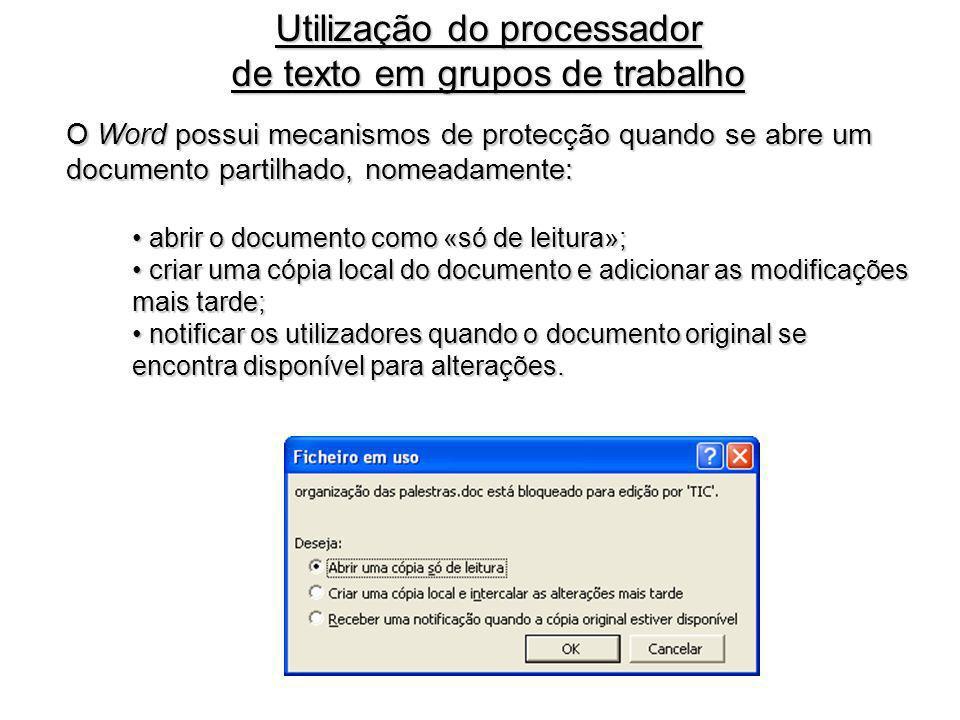 Utilização do processador de texto em grupos de trabalho