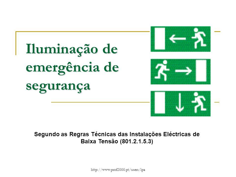 Iluminação de emergência de segurança
