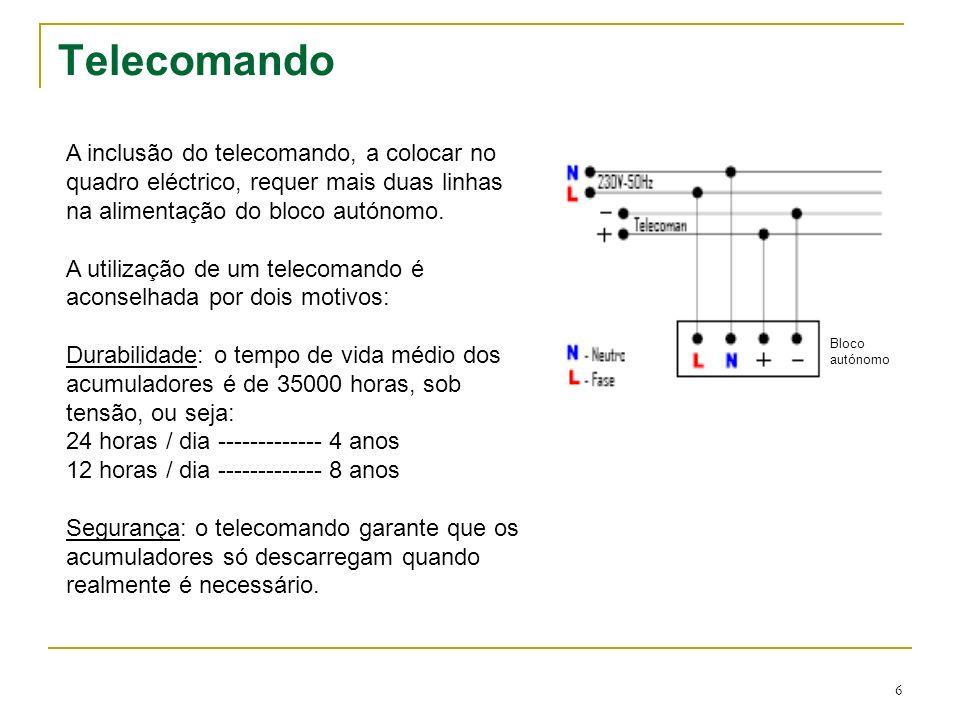 TelecomandoA inclusão do telecomando, a colocar no quadro eléctrico, requer mais duas linhas na alimentação do bloco autónomo.