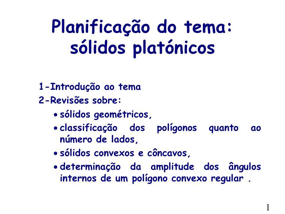 Planificação do tema: sólidos platónicos