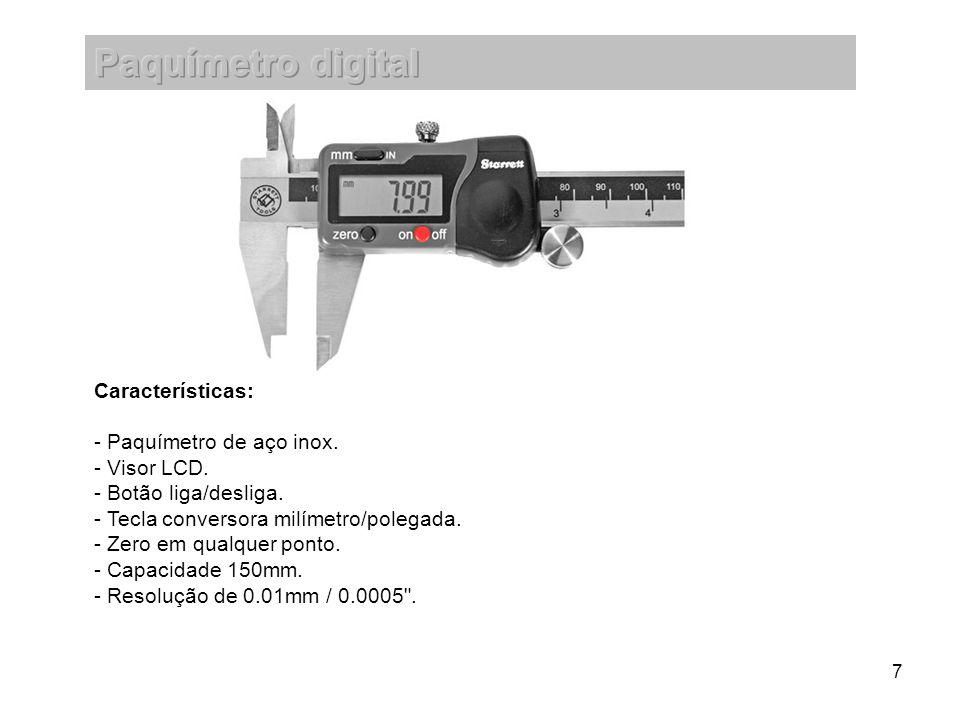 Paquímetro digital Características: