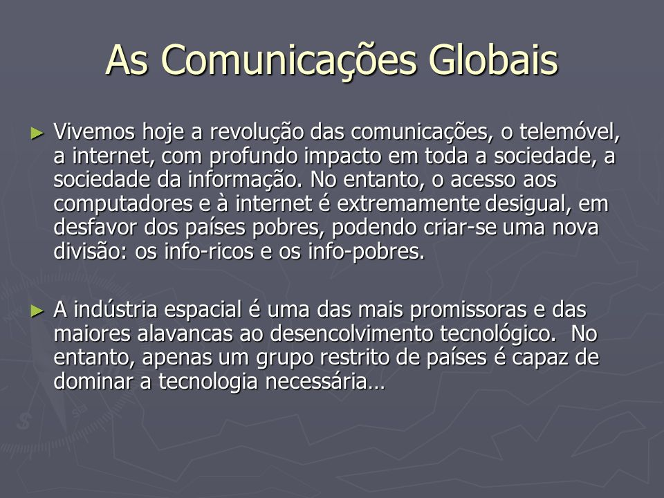 As Comunicações Globais