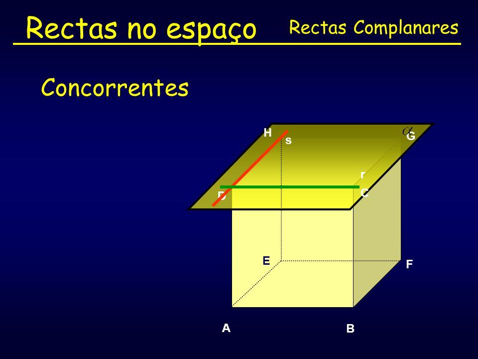 Rectas no espaço Rectas Complanares Concorrentes H G s r C D E F A B