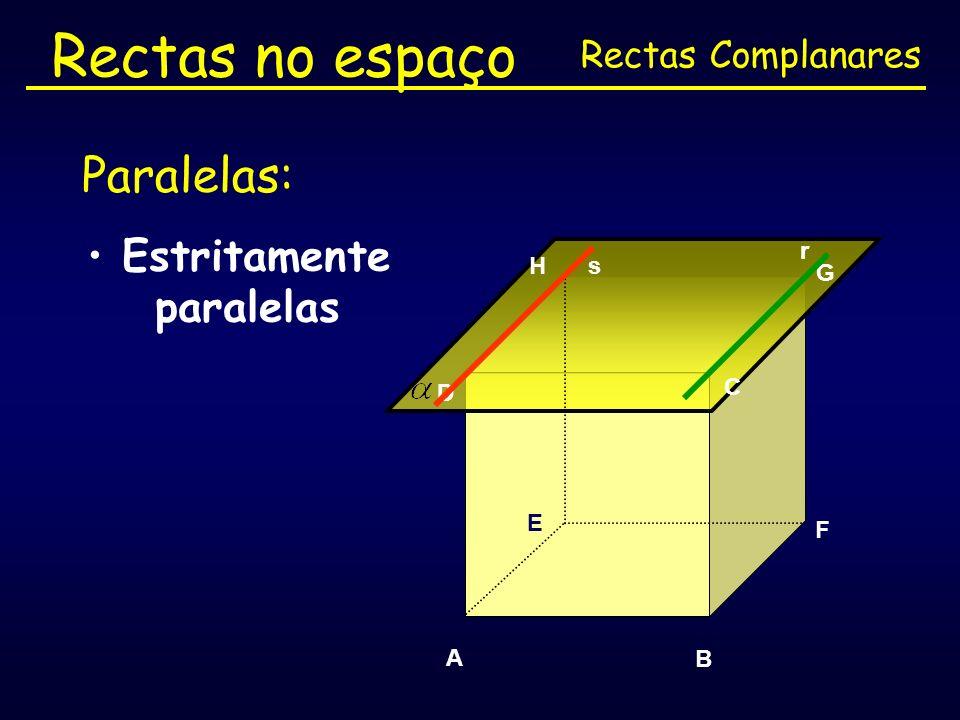 Rectas no espaço Paralelas: Estritamente paralelas Rectas Complanares