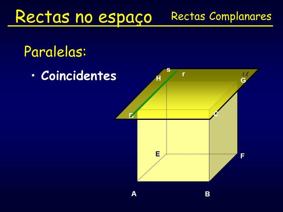 Rectas no espaço Paralelas: Coincidentes Rectas Complanares s r H G C