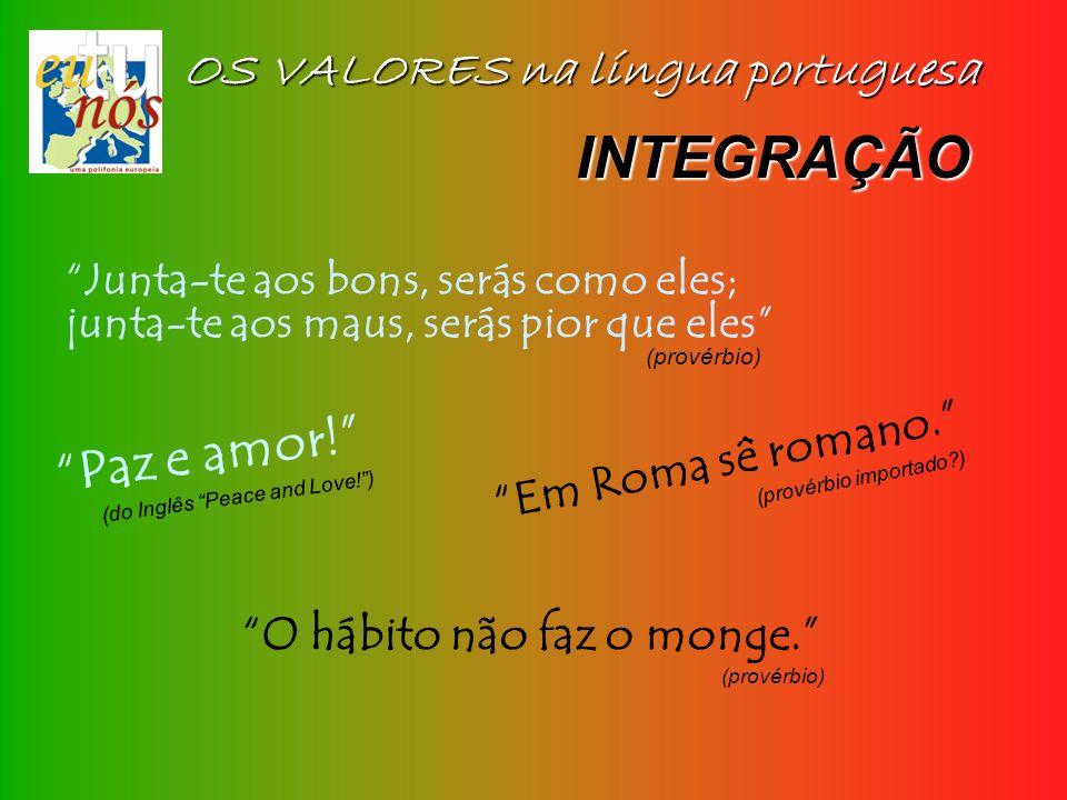 OS VALORES na língua portuguesa