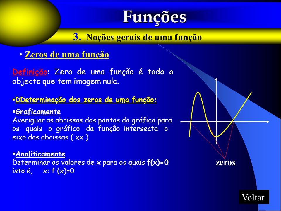 Funções 3. Noções gerais de uma função Zeros de uma função zeros