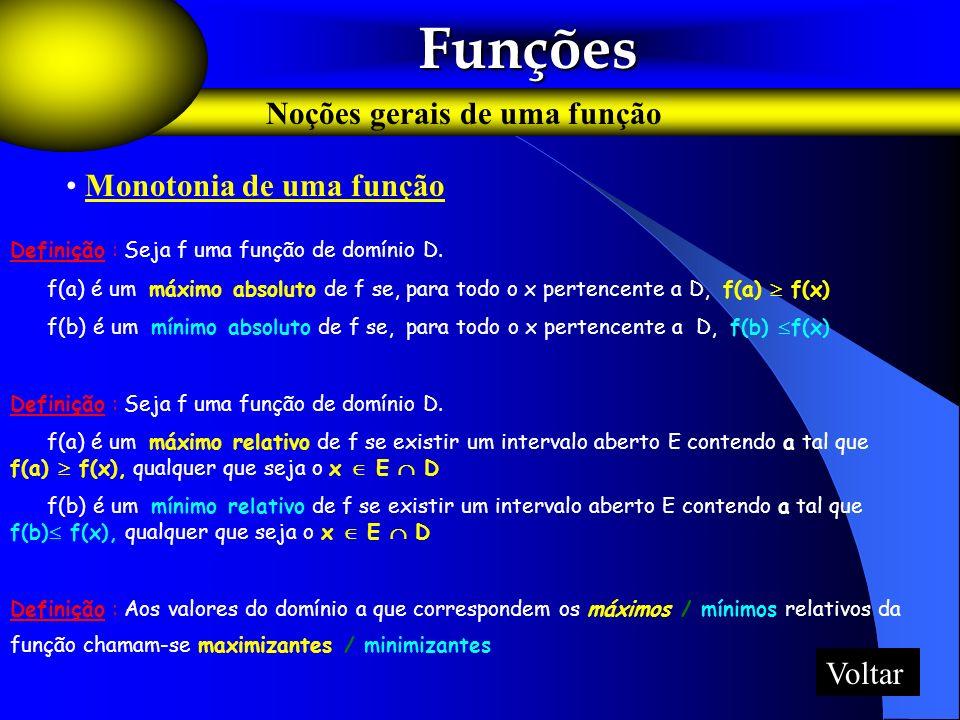 Funções Noções gerais de uma função Monotonia de uma função Voltar