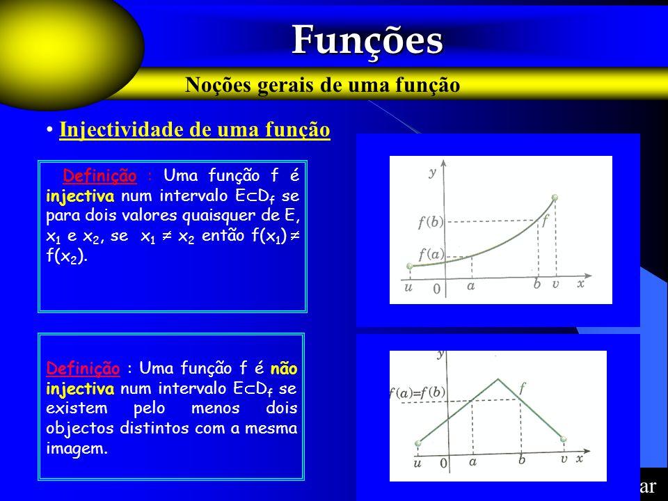 Funções Noções gerais de uma função Injectividade de uma função Voltar