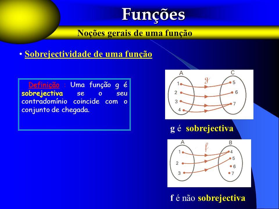 Funções Noções gerais de uma função Sobrejectividade de uma função