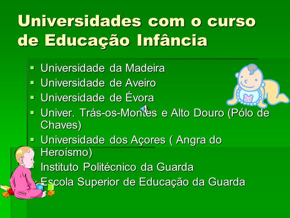Universidades com o curso de Educação Infância
