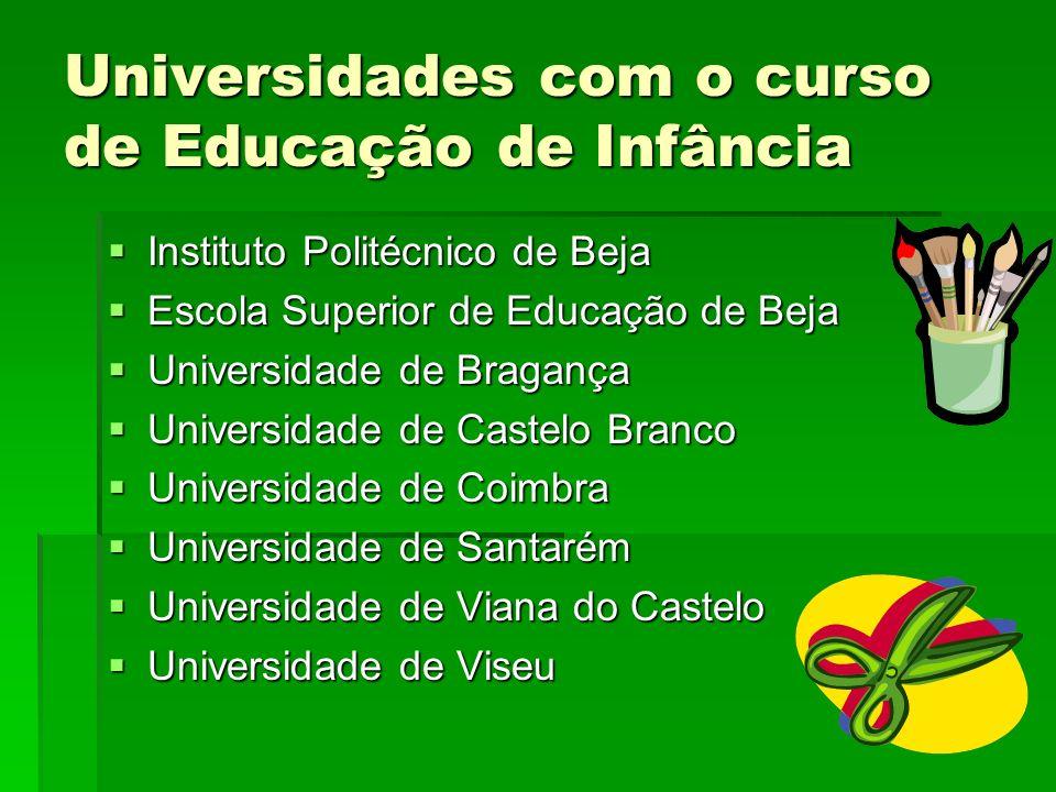 Universidades com o curso de Educação de Infância