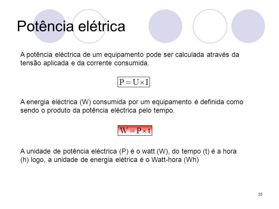 Potência elétrica A potência eléctrica de um equipamento pode ser calculada através da tensão aplicada e da corrente consumida.