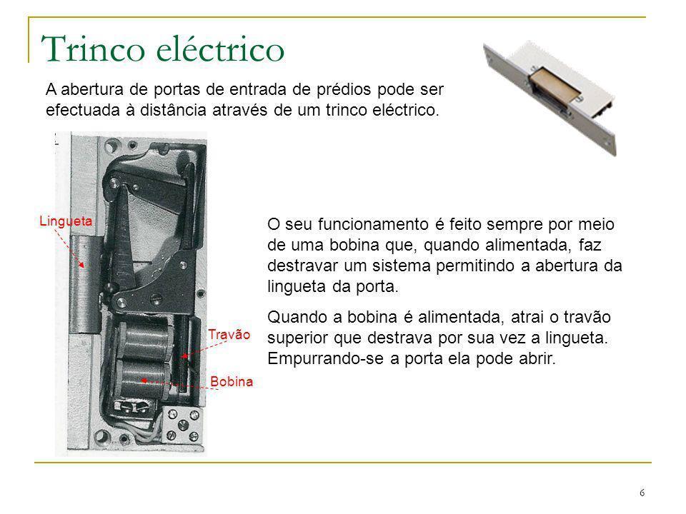 Trinco eléctrico A abertura de portas de entrada de prédios pode ser efectuada à distância através de um trinco eléctrico.