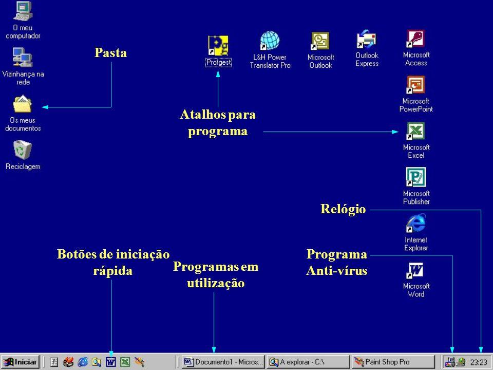 Botões de iniciação rápida Programas em utilização
