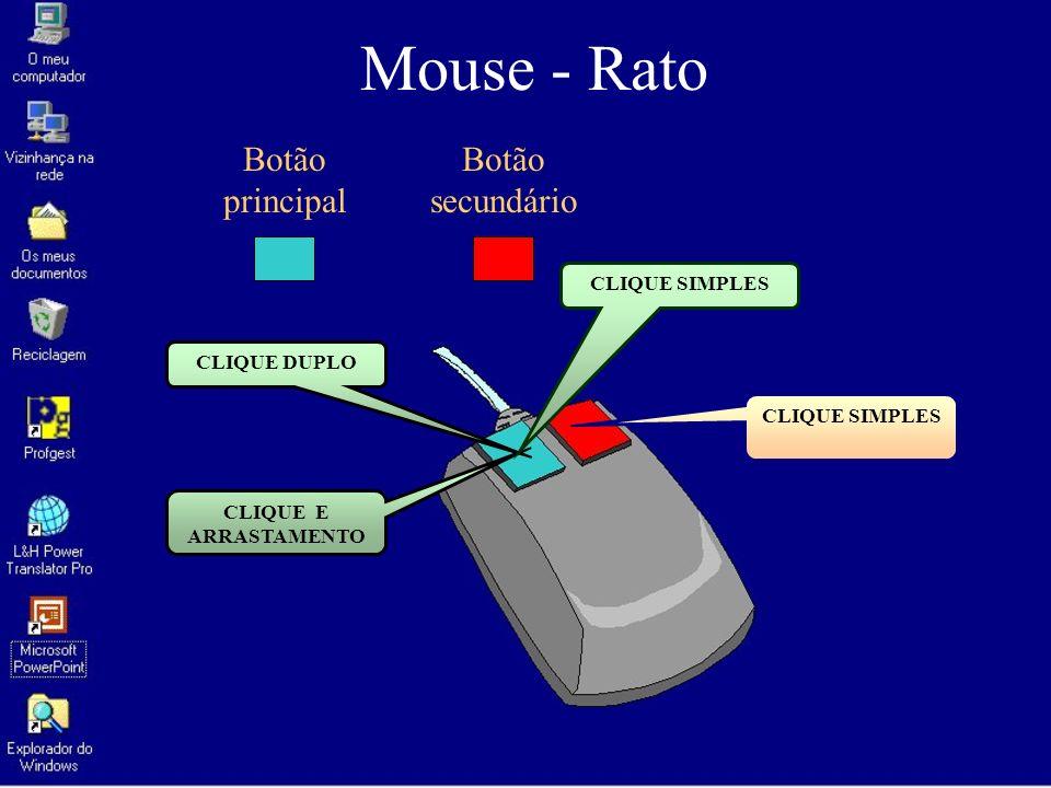 Mouse - Rato Botão principal Botão secundário CLIQUE SIMPLES