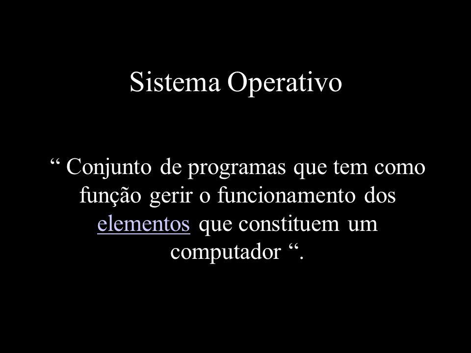 Sistema Operativo Conjunto de programas que tem como função gerir o funcionamento dos elementos que constituem um computador .
