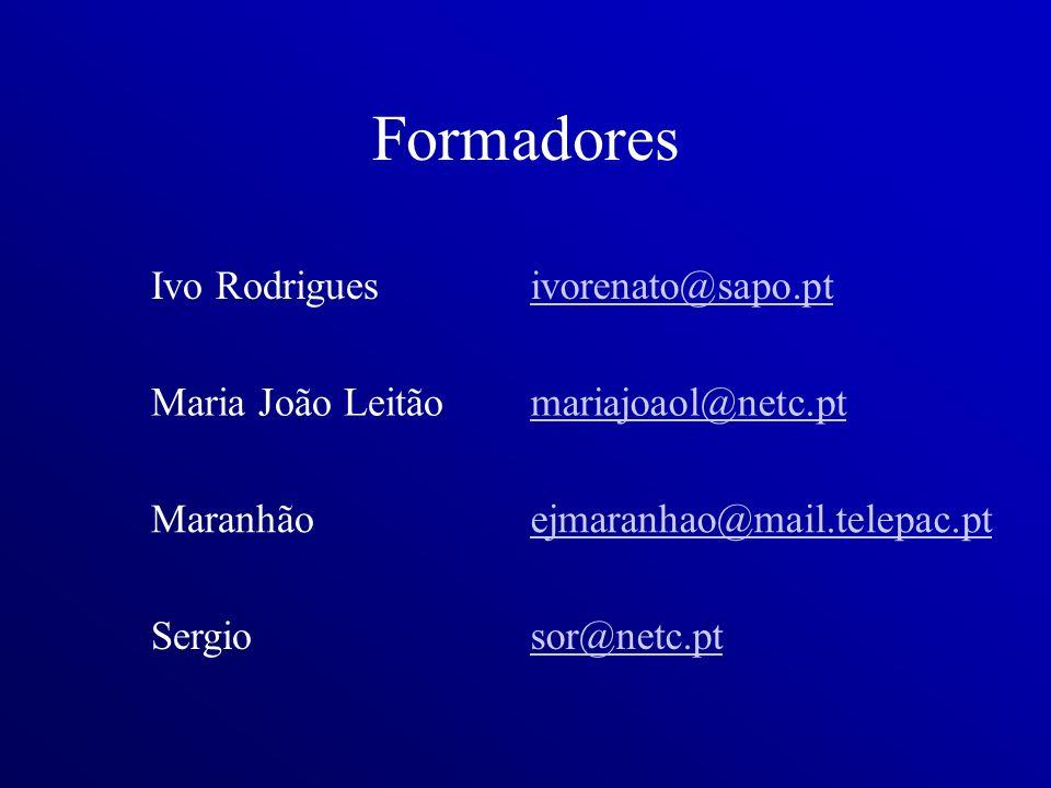 Formadores Ivo Rodrigues ivorenato@sapo.pt Maria João Leitão