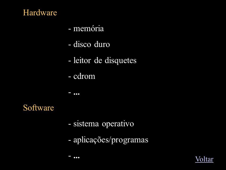 Exemplos1 Hardware memória disco duro leitor de disquetes cdrom ...