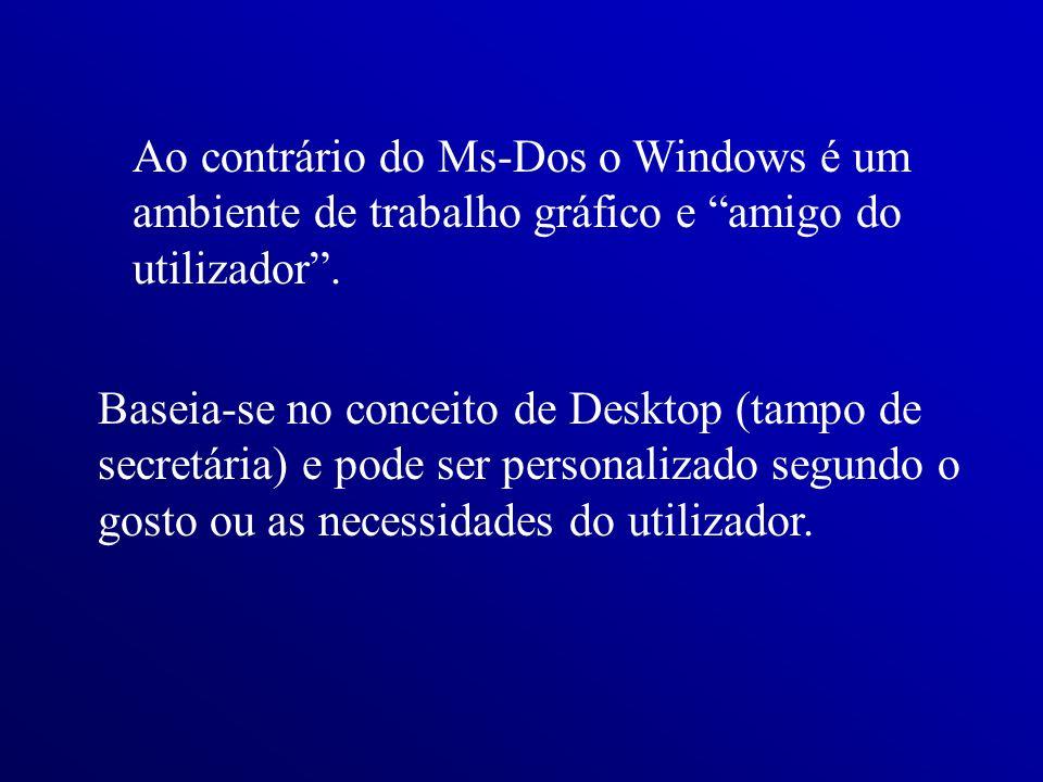 Ao contrário do Ms-Dos o Windows é um ambiente de trabalho gráfico e amigo do utilizador .