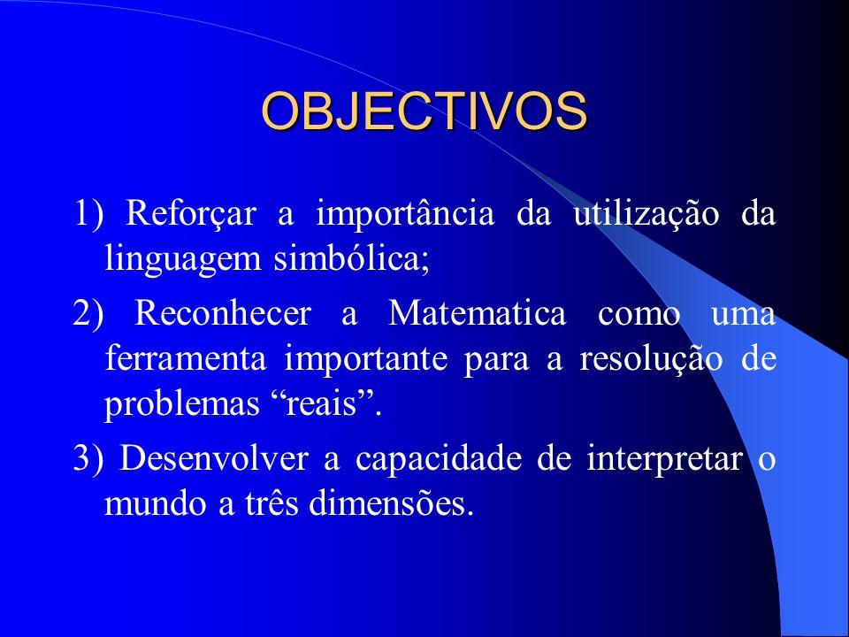 OBJECTIVOS 1) Reforçar a importância da utilização da linguagem simbólica;