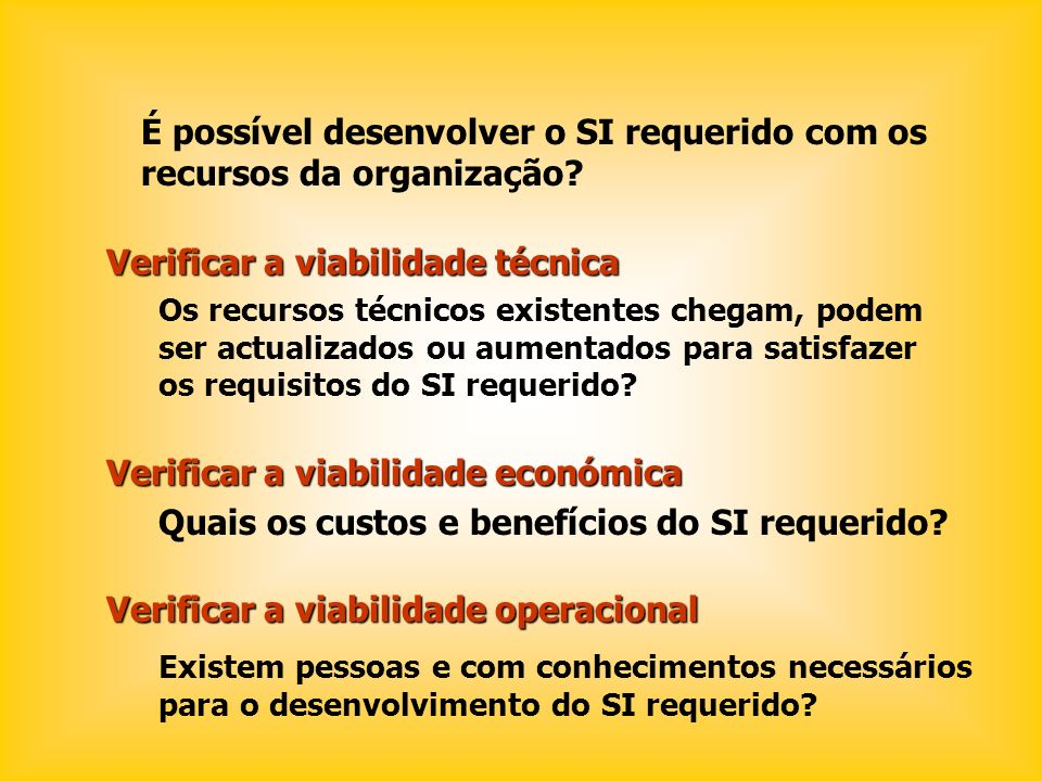 É possível desenvolver o SI requerido com os recursos da organização