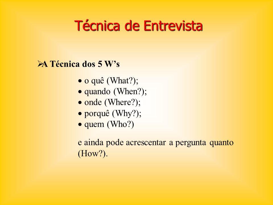 Técnica de Entrevista A Técnica dos 5 W's o quê (What );