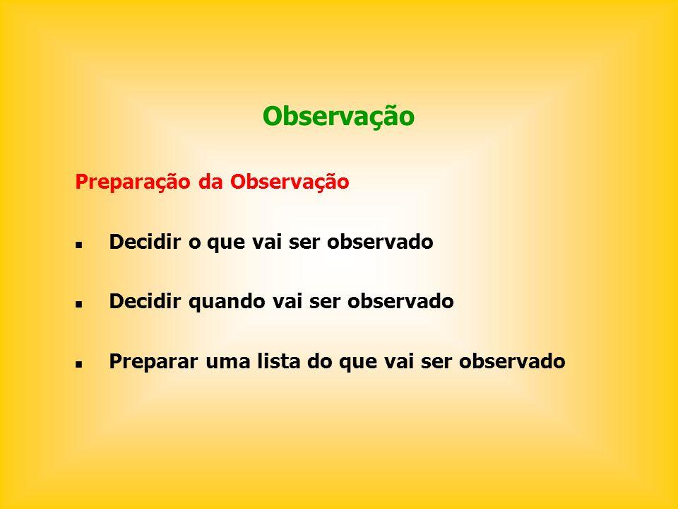 Observação Preparação da Observação Decidir o que vai ser observado