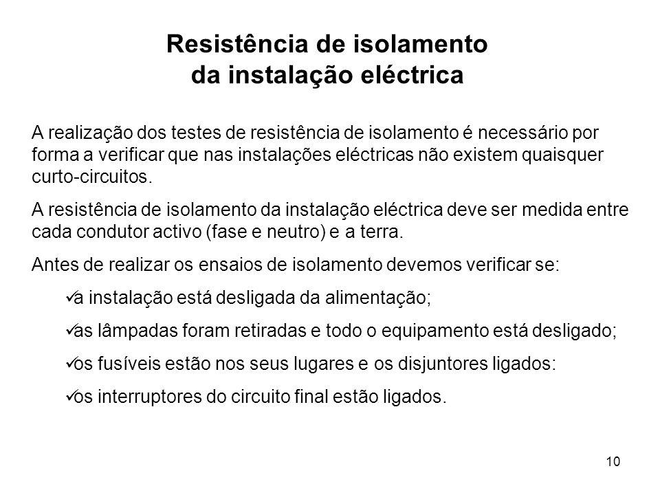 Resistência de isolamento da instalação eléctrica