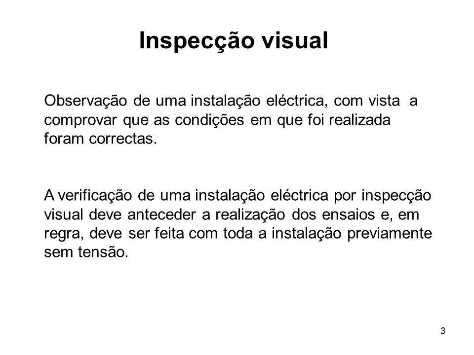 Inspecção visual Observação de uma instalação eléctrica, com vista a comprovar que as condições em que foi realizada foram correctas.