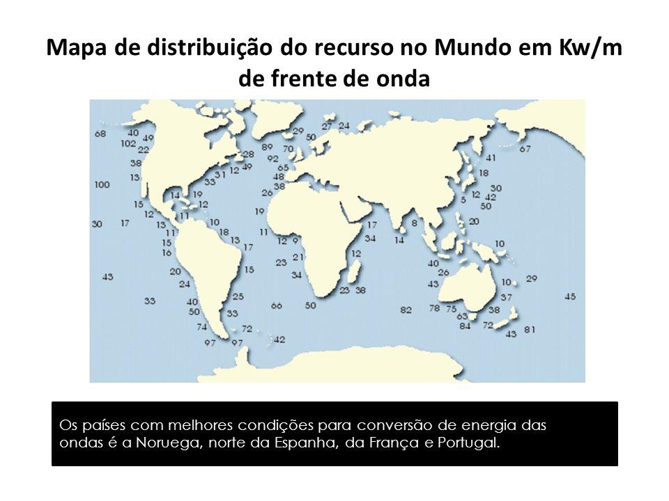 Mapa de distribuição do recurso no Mundo em Kw/m de frente de onda
