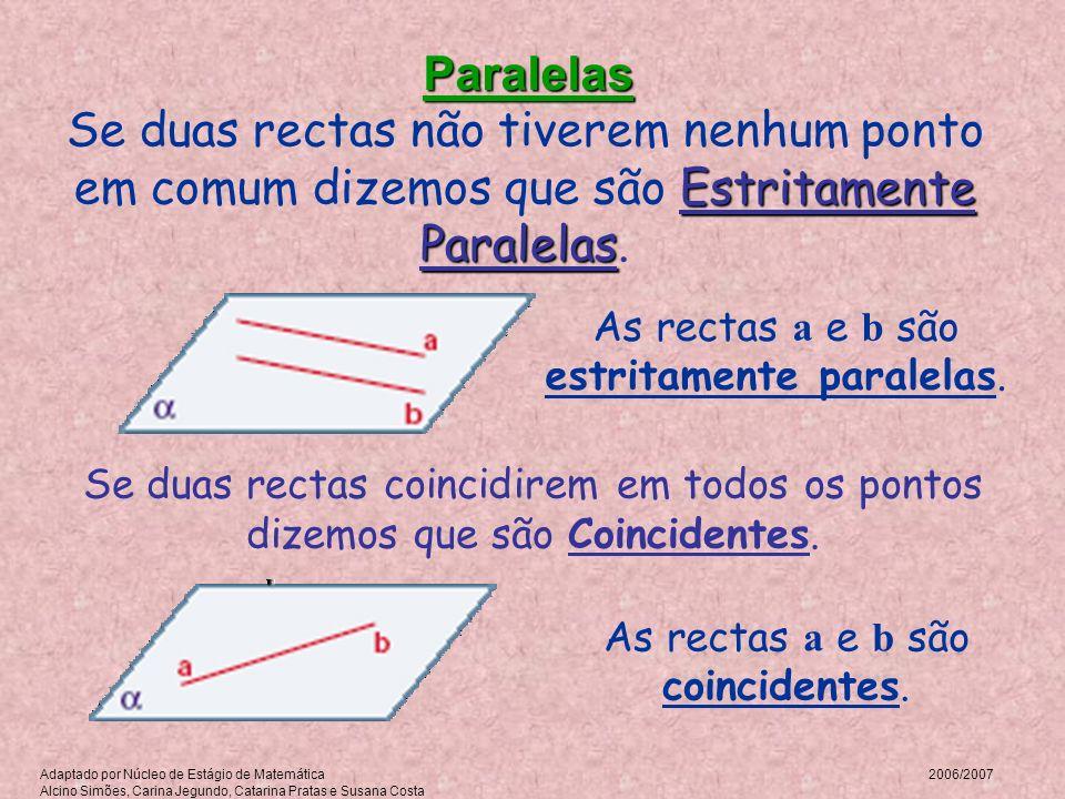 Paralelas Se duas rectas não tiverem nenhum ponto em comum dizemos que são Estritamente Paralelas. As rectas a e b são estritamente paralelas.