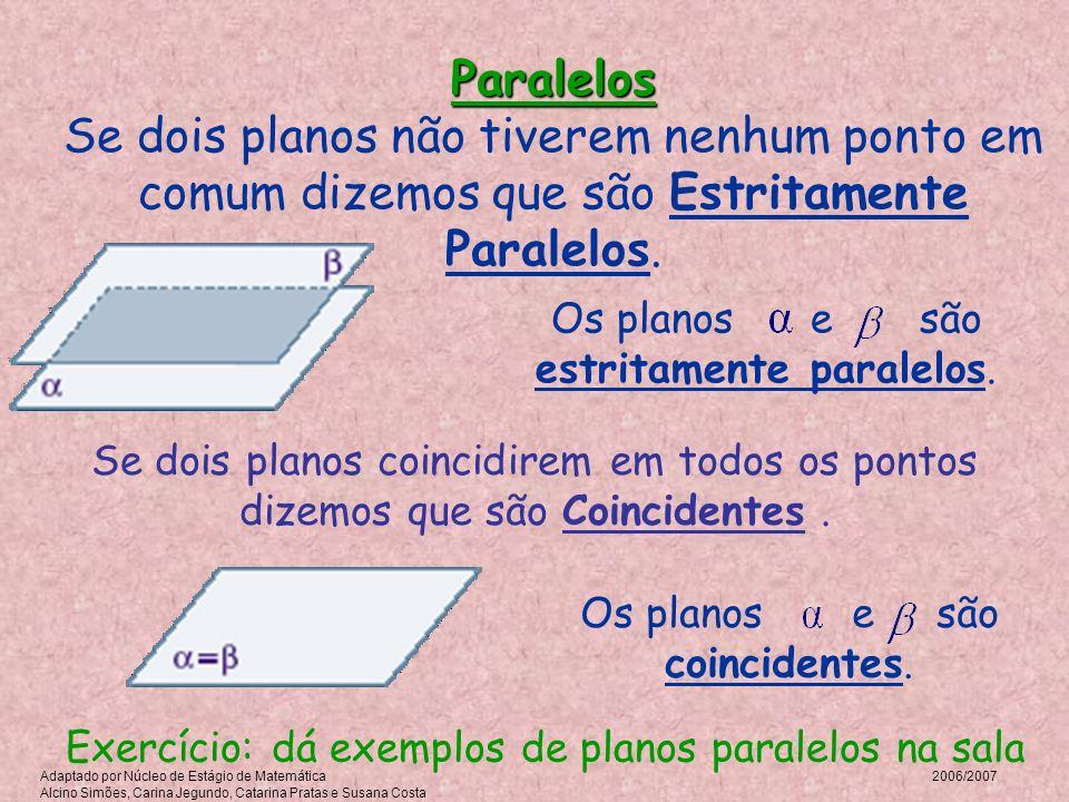Paralelos Se dois planos não tiverem nenhum ponto em comum dizemos que são Estritamente Paralelos.