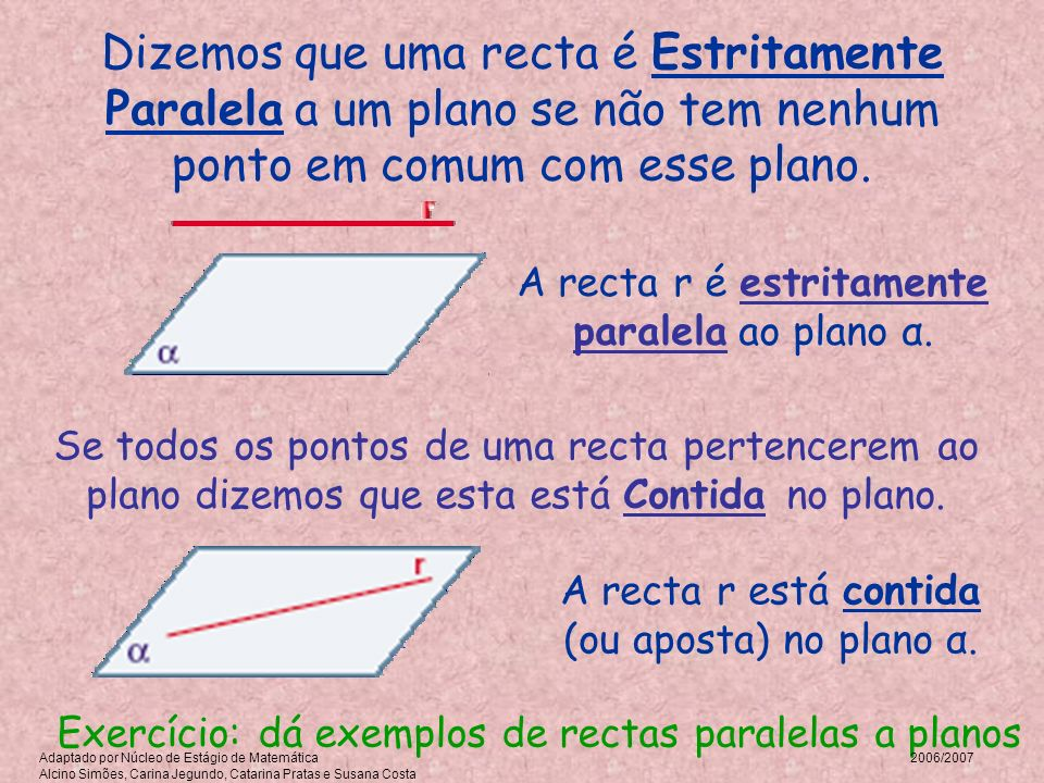 Dizemos que uma recta é Estritamente Paralela a um plano se não tem nenhum ponto em comum com esse plano.