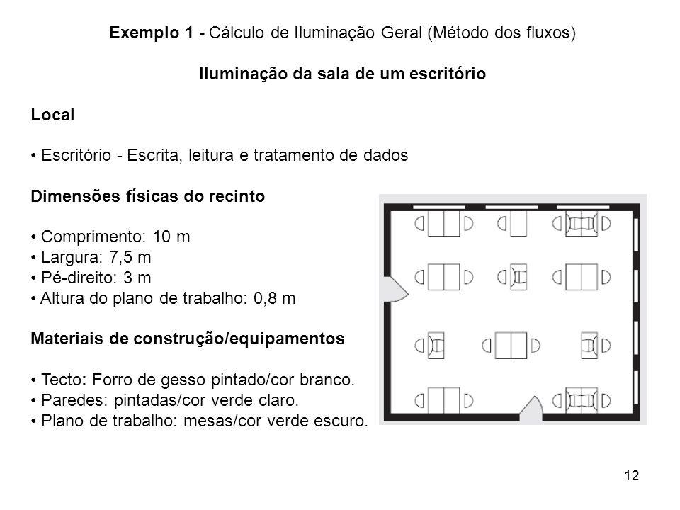 Exemplo 1 - Cálculo de Iluminação Geral (Método dos fluxos)