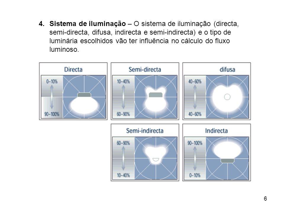 Sistema de iluminação – O sistema de iluminação (directa, semi-directa, difusa, indirecta e semi-indirecta) e o tipo de luminária escolhidos vão ter influência no cálculo do fluxo luminoso.