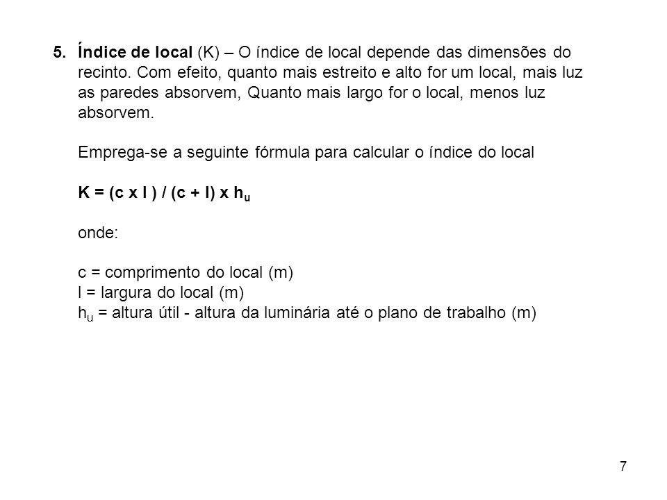 Índice de local (K) – O índice de local depende das dimensões do recinto. Com efeito, quanto mais estreito e alto for um local, mais luz as paredes absorvem, Quanto mais largo for o local, menos luz absorvem.