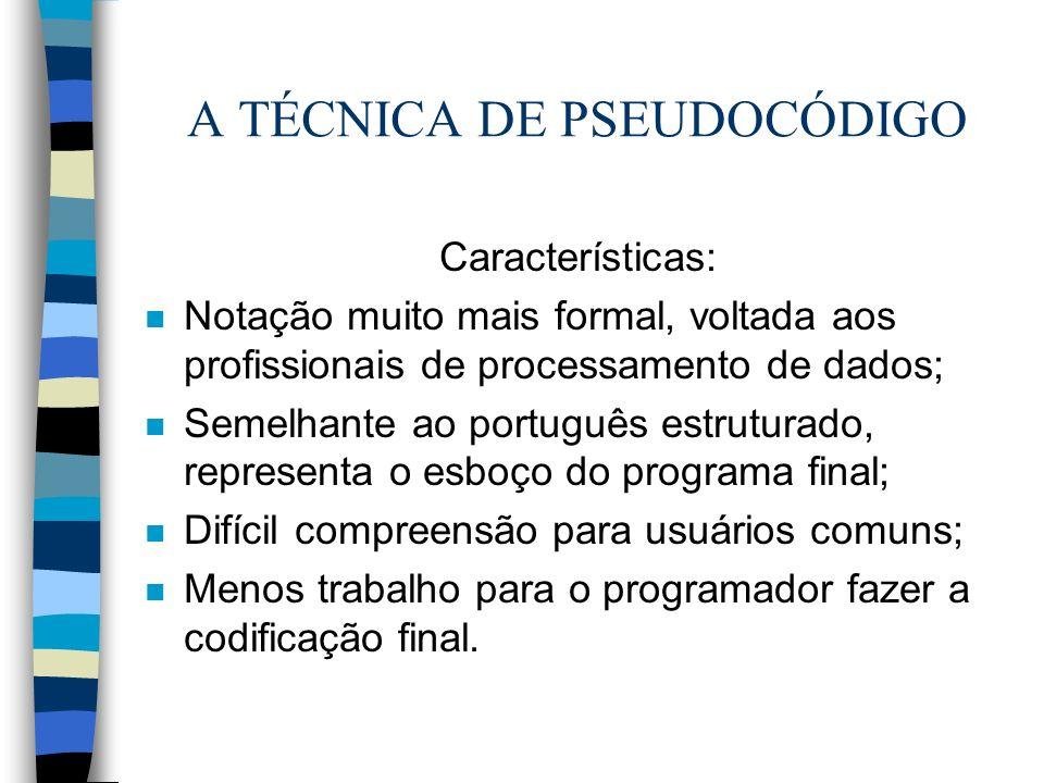 A TÉCNICA DE PSEUDOCÓDIGO