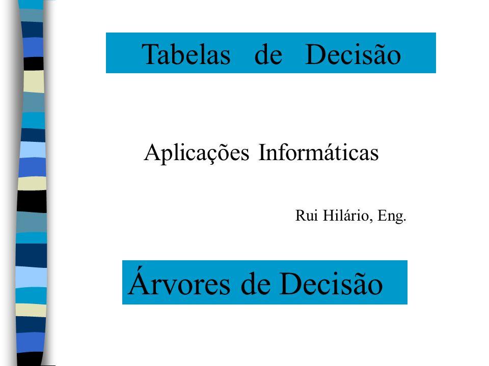 Árvores de Decisão Tabelas de Decisão Aplicações Informáticas