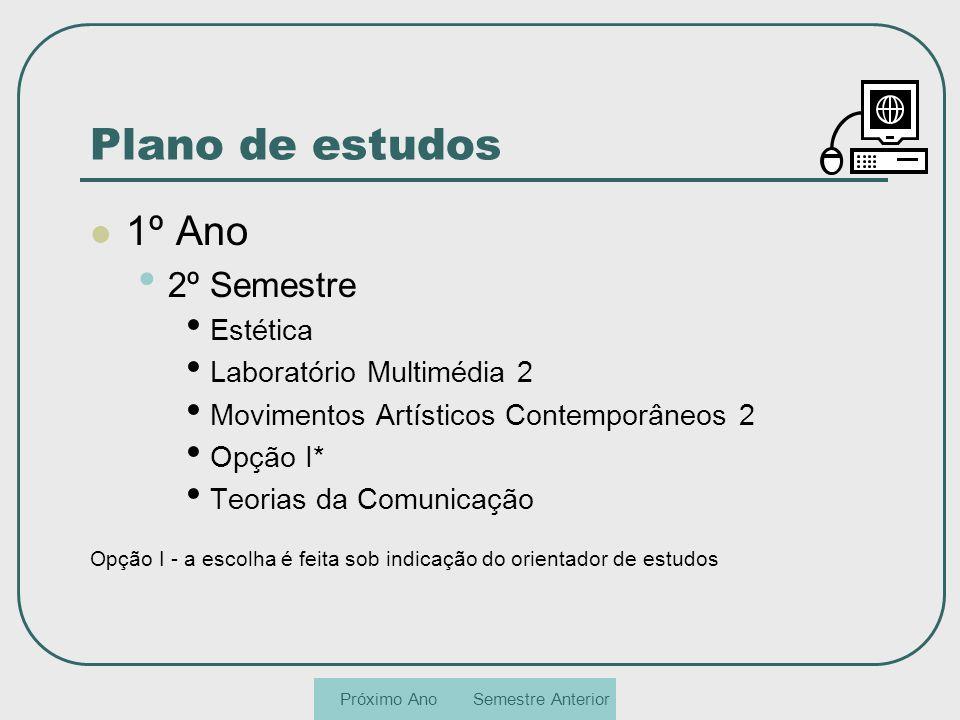 Plano de estudos 1º Ano 2º Semestre Estética Laboratório Multimédia 2