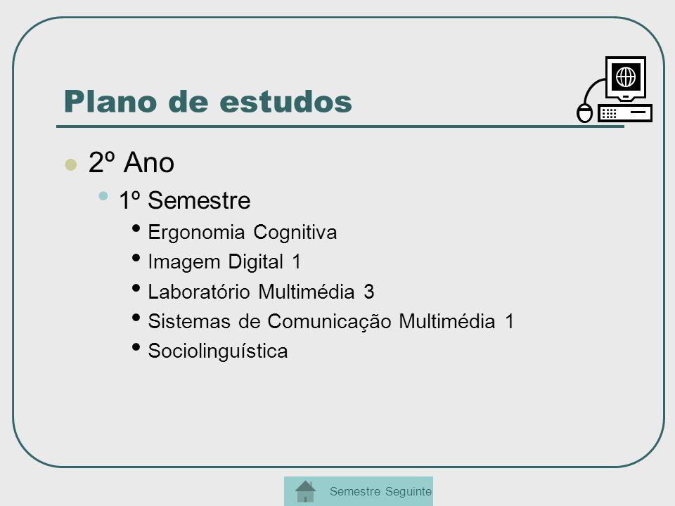 Plano de estudos 2º Ano 1º Semestre Ergonomia Cognitiva