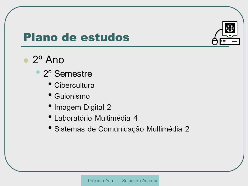 Plano de estudos 2º Ano 2º Semestre Cibercultura Guionismo