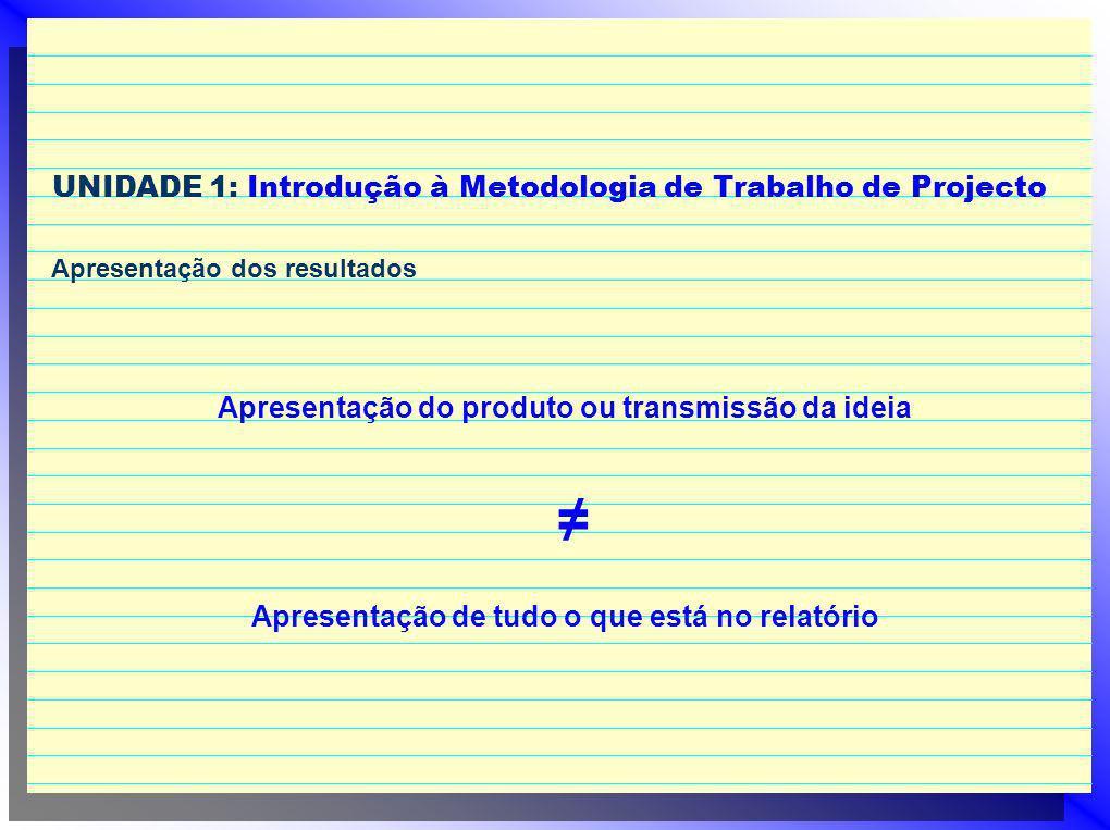 ≠ UNIDADE 1: Introdução à Metodologia de Trabalho de Projecto