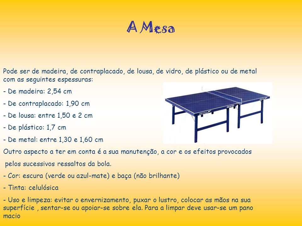 A Mesa Pode ser de madeira, de contraplacado, de lousa, de vidro, de plástico ou de metal com as seguintes espessuras: