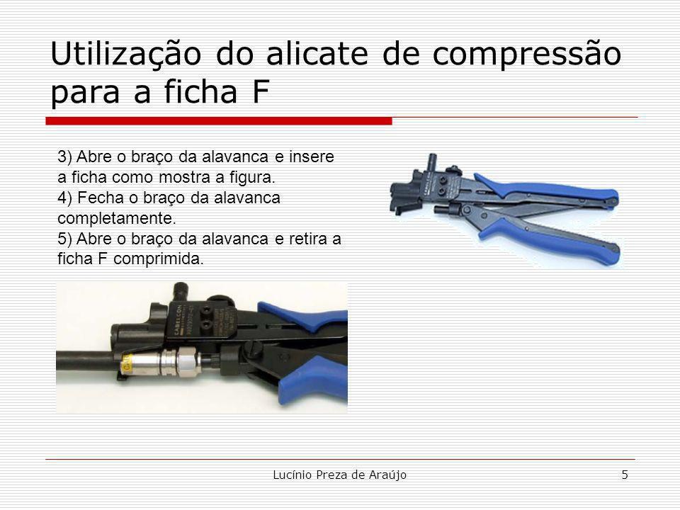 Utilização do alicate de compressão para a ficha F