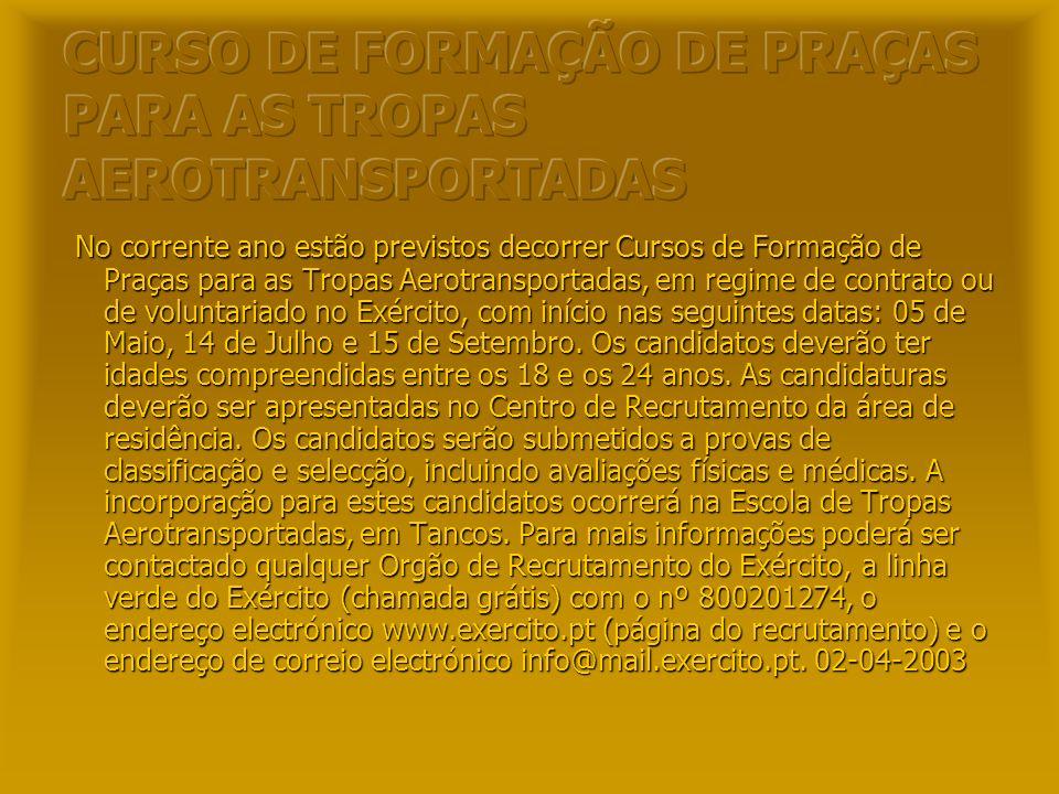 CURSO DE FORMAÇÃO DE PRAÇAS PARA AS TROPAS AEROTRANSPORTADAS